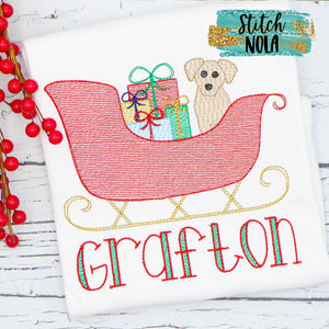 Personalized Christmas Sleigh with Pup Sketch Shirt