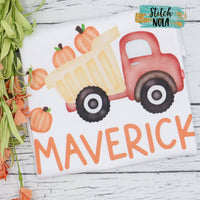 Personalized Dump Truck with Pumpkins Printed Shirt