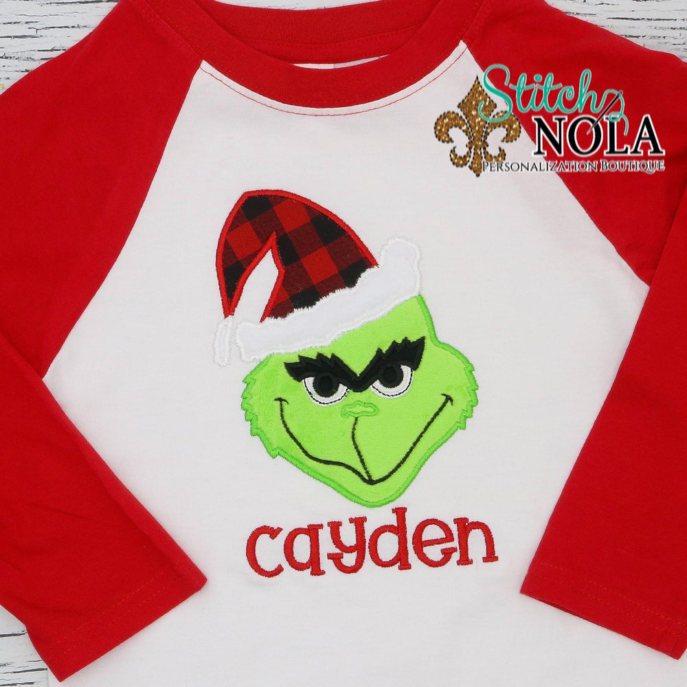 Personalized Mean One Green Monster Applique Shirt
