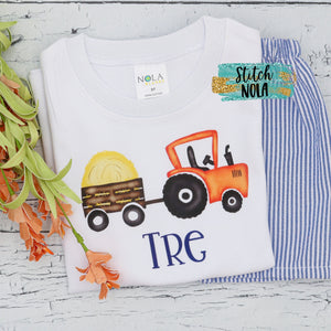 Personalized Fall Tractor with Hay Printed Shirt