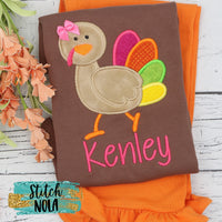 Personalized Mrs Turkey Applique Colored Garment
