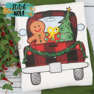 Personalized Christmas Truck with Gingerbread Man Printed Shirt
