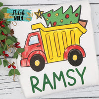 Personalized Christmas Dump Truck Printed Shirt