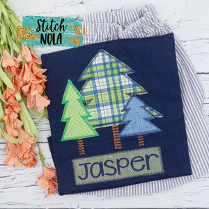 Personalized Christmas Tree Trio Applique Colored Garment