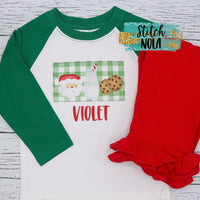 Personalized Santa Milk & Cookies Printed Shirt