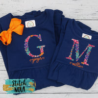 Personalized Fall Floral Letter or Name Embroidered on Navy Garment