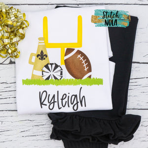 Personalized Black & Gold Cheer Goal Post Printed Shirt