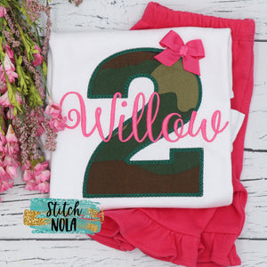 Personalized Number in Camo Appliqué Shirt