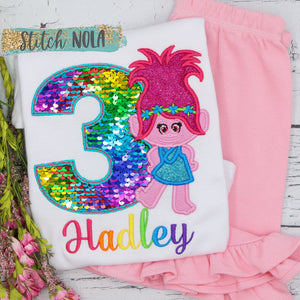 Personalized Flip Sequin Troll Birthday Applique Shirt