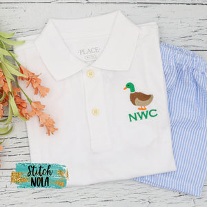 Personalized Mallard Duck Embroidered Collared Shirt