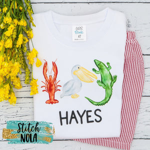 Personalized Louisiana Trio Crawfish, Pelican and Alligator Printed Shirt