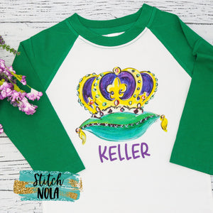 Personalized Mardi Gras King Crown by NOLA Bee Printed Shirt
