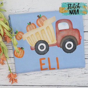 Personalized Dump Truck with Pumpkins on Colored Tee Printed Shirt