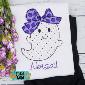 Personalized Halloween Ghost with Big Bow Appliqué Shirt