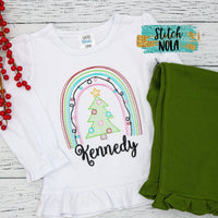 Personalized Christmas Tree Rainbow Sketch with Lights Shirt