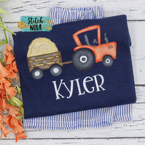 Personalized Tractor with Hay Printed Shirt