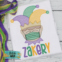 Personalized Mardi Gras Jester child with Mask Sketch Shirt