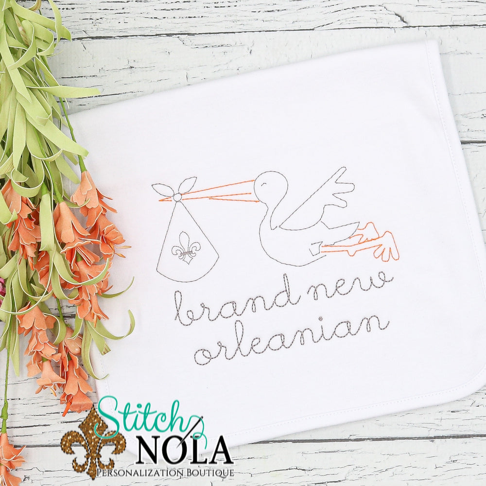 Personalized New Orleans Baby with Stork Shirt