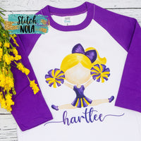 Personalized  Purple & Gold Cheerleader Printed Shirt