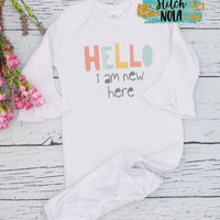 Personalized New Baby Hello World Printed Shirt