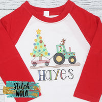 Personalized Christmas Tractor with Green Monster Sketch Shirt