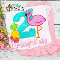 Personalized Flamingo Pineapple Birthday Applique Shirt