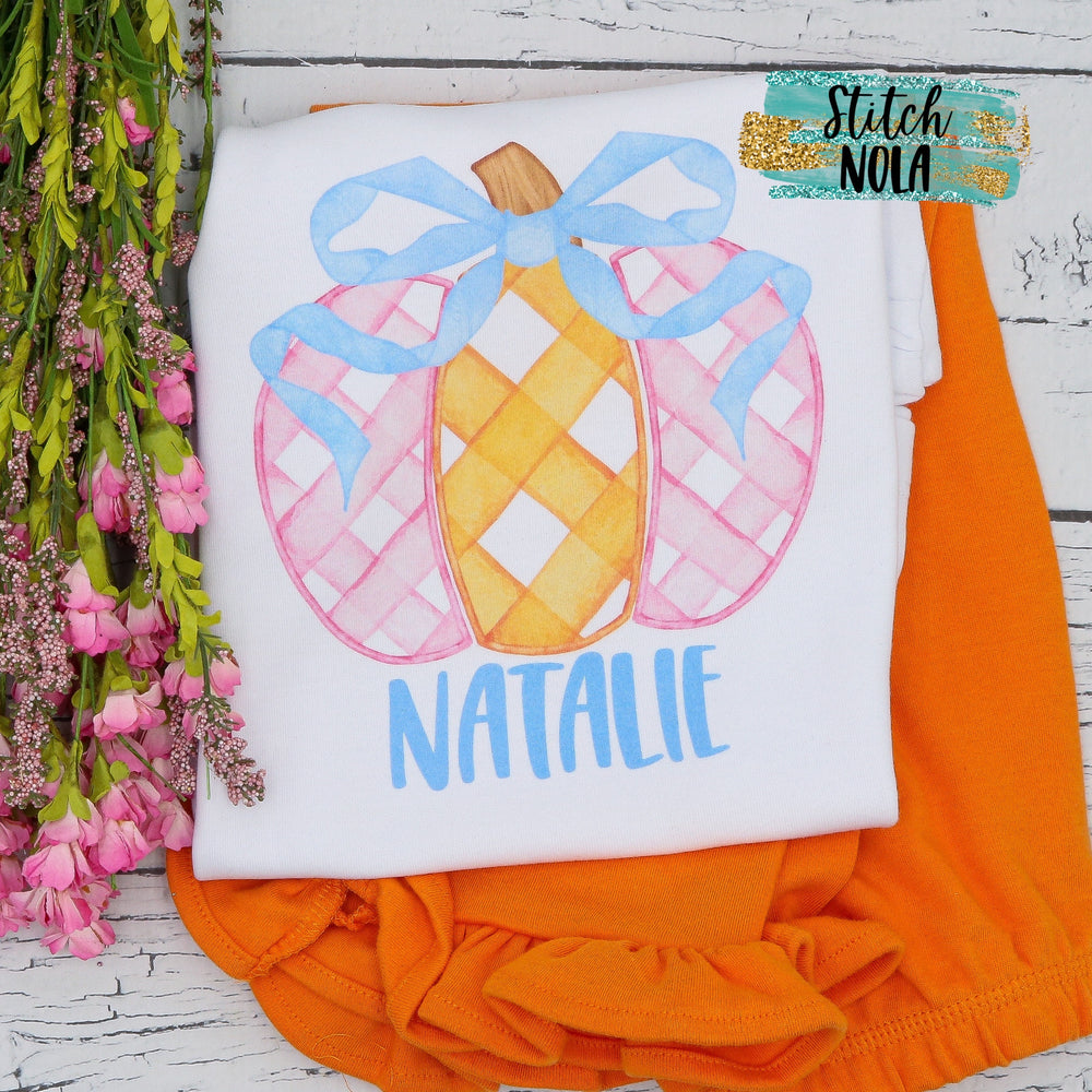 Personalized Gingham Pumpkin Printed Shirt