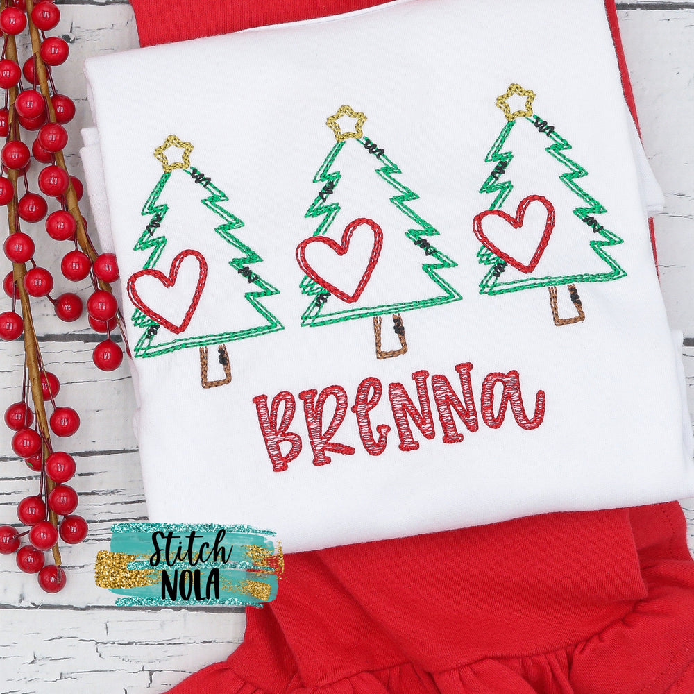 Personalized Christmas Tree Scribble with Hearts Trio Shirt