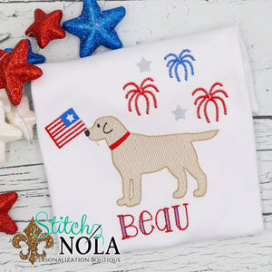 Personalized Patriotic Dog with Fireworks Sketch Shirt