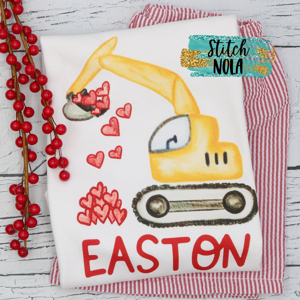 Personalized Valentines Excavator with Hearts Printed Shirt