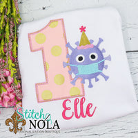 Personalized Quarantine Birthday Virus with Party Hat Appliqué Shirt