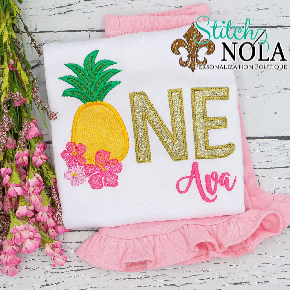Personalized Pineapple Birthday Applique Shirt