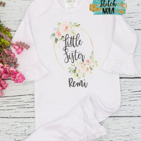 Personalized Little Sister Floral Wreath Printed Shirt
