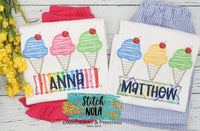 Personalized Ice Cream Cone Sketch Trio with Fabric Name Box Appliqué Shirt