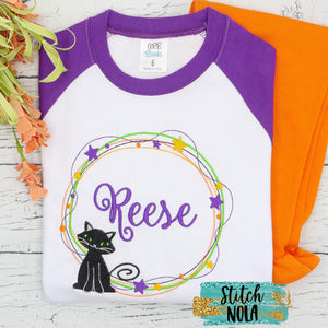 Personalized Halloween Wreath Black Cat Sketch Shirt