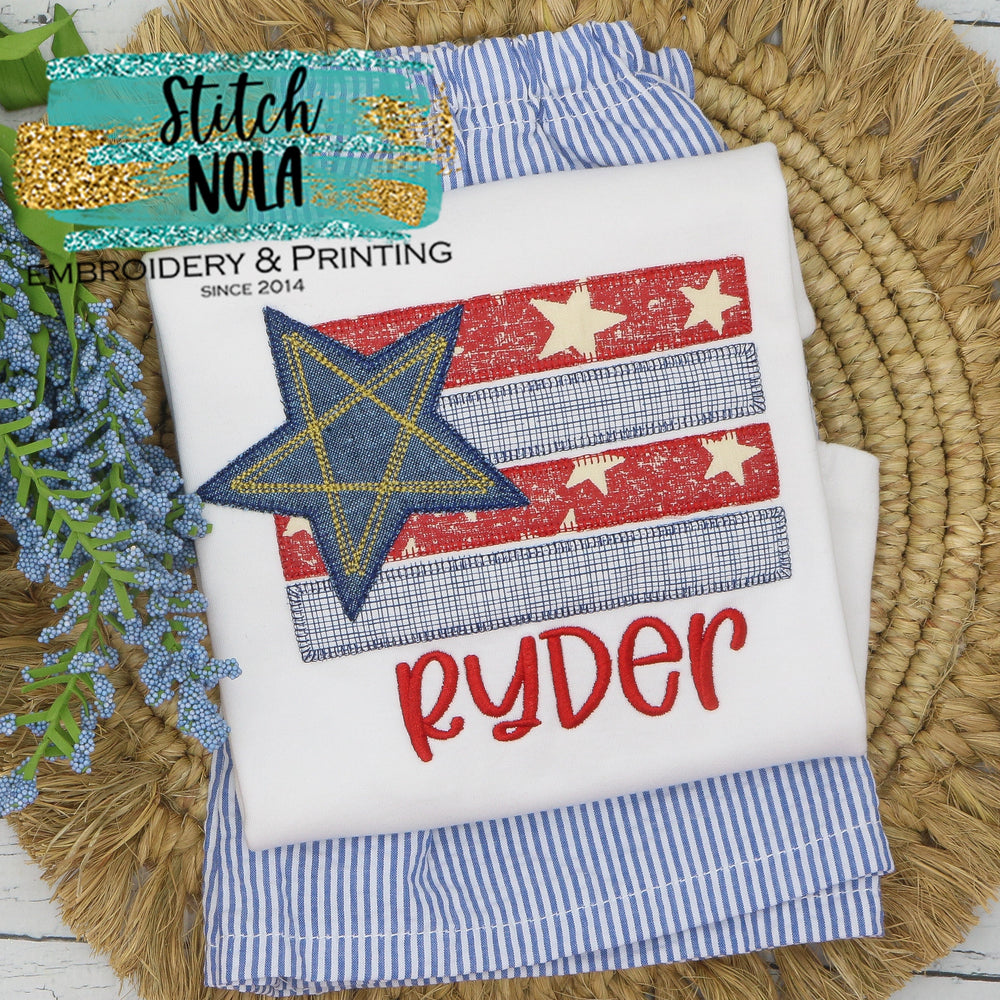 Personalized Patriotic Flag with Star Applique Shirt