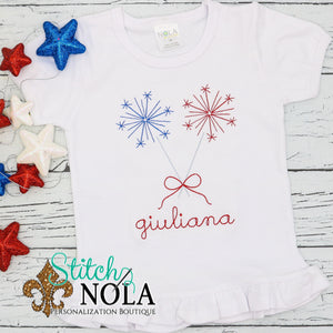 Personalized Patriotic Sparklers with Bow Vintage Shirt