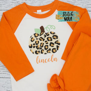 Personalized Leopard Pumpkin Printed Shirt