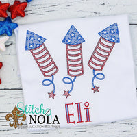 Personalized Patriotic Firecrackers Sketch Trio Shirt
