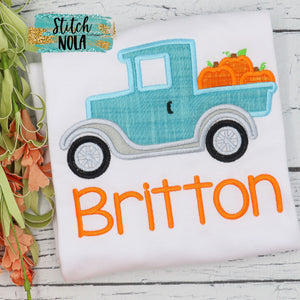 Personalized Old Timer Truck with Pumpkins Applique Shirt