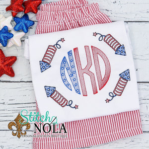Personalized Patriotic Firecrackers Monogram Sketch Shirt