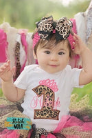 Personalized Leopard Number with Tiara Birthday Appliqué with Guitar Shirt