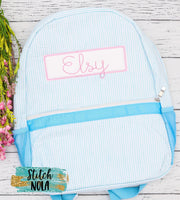 Personalized Seersucker Backpack with Name Box Applique, Seersucker Diaper Bag, Seersucker School Bag, Seersucker Bag, Diaper Bag, School Bag, Book