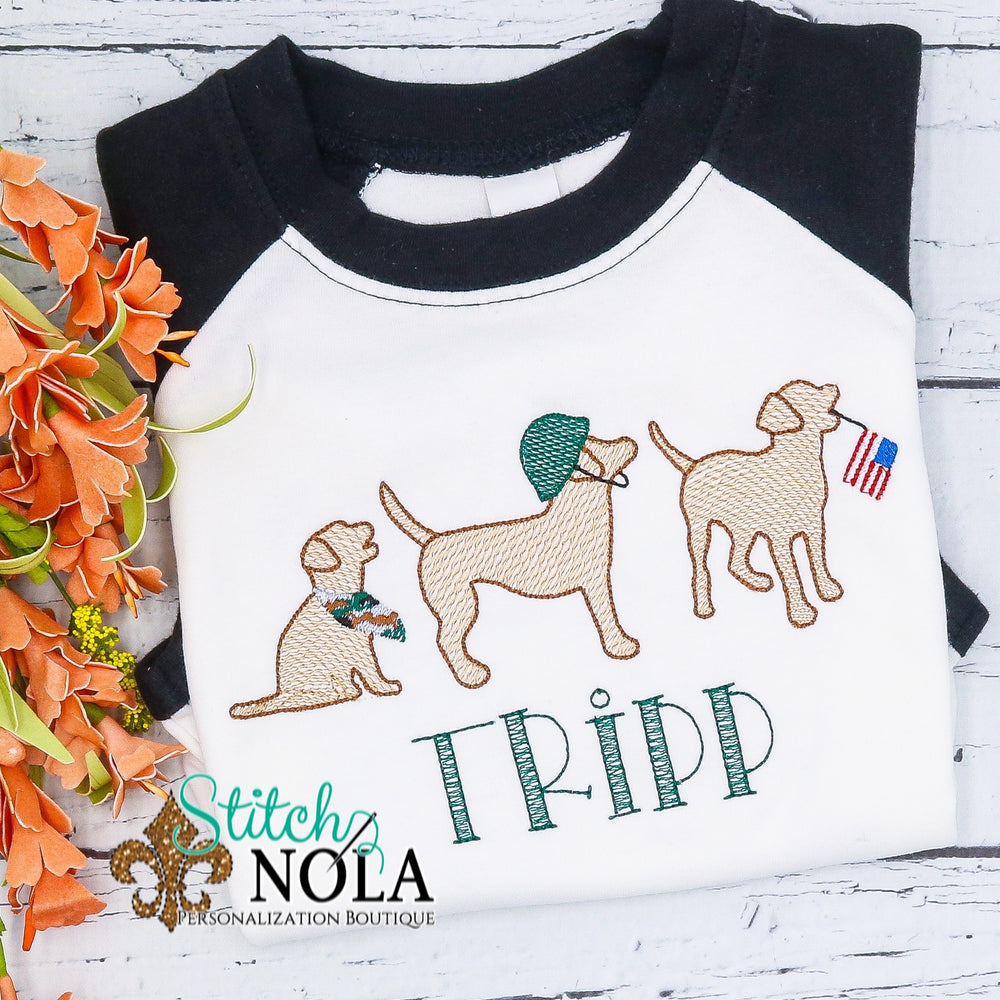 Personalized Patriotic Dogs Sketch Shirt