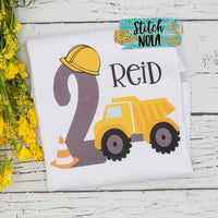 Personalized Construction Birthday Dump Truck Printed Shirt