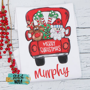 Personalized Christmas Truck with Santa, Elf and Reindeer Printed Shirt