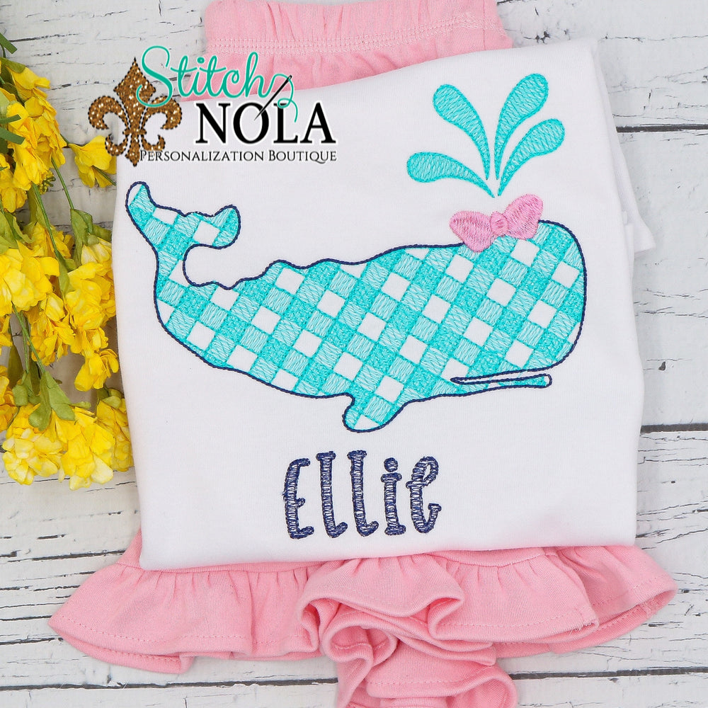 Personalized Gingham Whale Sketch Shirt