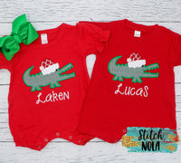 Personalized Christmas Santa Gator Appliqué on Colored Garment