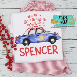 Personalized Valentine Police Car With Hearts Printed Shirt