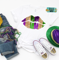 Adult Mardi Gras Kisses Printed Tee